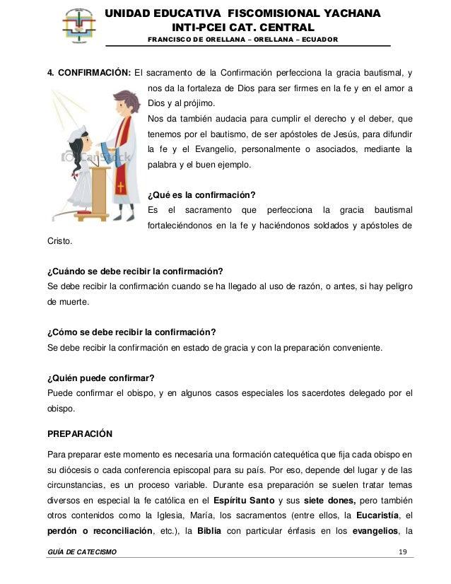 GUÍA DE CATECISMO 19 UNIDAD EDUCATIVA FISCOMISIONAL YACHANA INTI-PCEI CAT. CENTRAL FRANCISCO DE ORELLANA – ORELLANA – ECUA...