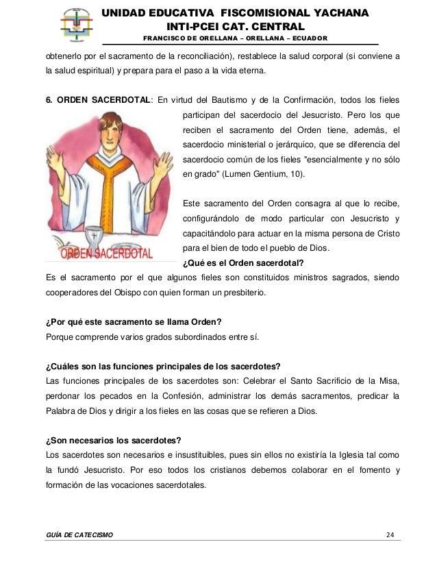GUÍA DE CATECISMO 24 UNIDAD EDUCATIVA FISCOMISIONAL YACHANA INTI-PCEI CAT. CENTRAL FRANCISCO DE ORELLANA – ORELLANA – ECUA...