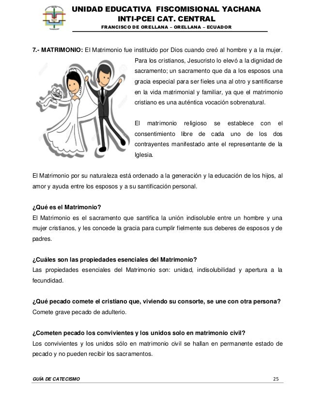 GUÍA DE CATECISMO 25 UNIDAD EDUCATIVA FISCOMISIONAL YACHANA INTI-PCEI CAT. CENTRAL FRANCISCO DE ORELLANA – ORELLANA – ECUA...