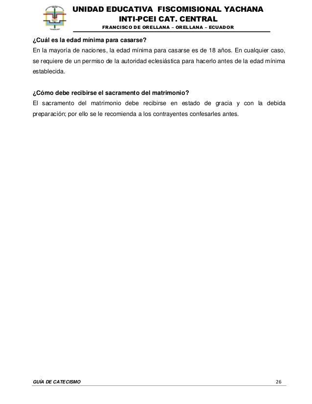 GUÍA DE CATECISMO 26 UNIDAD EDUCATIVA FISCOMISIONAL YACHANA INTI-PCEI CAT. CENTRAL FRANCISCO DE ORELLANA – ORELLANA – ECUA...