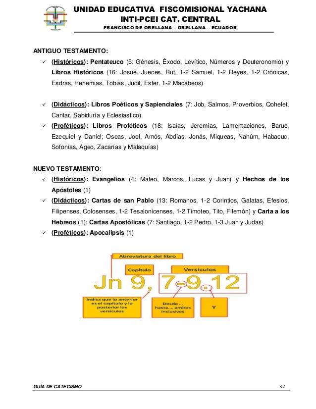 GUÍA DE CATECISMO 32 UNIDAD EDUCATIVA FISCOMISIONAL YACHANA INTI-PCEI CAT. CENTRAL FRANCISCO DE ORELLANA – ORELLANA – ECUA...