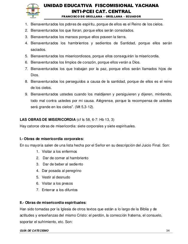 GUÍA DE CATECISMO 34 UNIDAD EDUCATIVA FISCOMISIONAL YACHANA INTI-PCEI CAT. CENTRAL FRANCISCO DE ORELLANA – ORELLANA – ECUA...