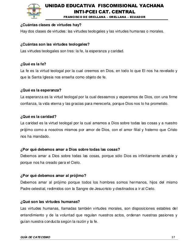 GUÍA DE CATECISMO 37 UNIDAD EDUCATIVA FISCOMISIONAL YACHANA INTI-PCEI CAT. CENTRAL FRANCISCO DE ORELLANA – ORELLANA – ECUA...