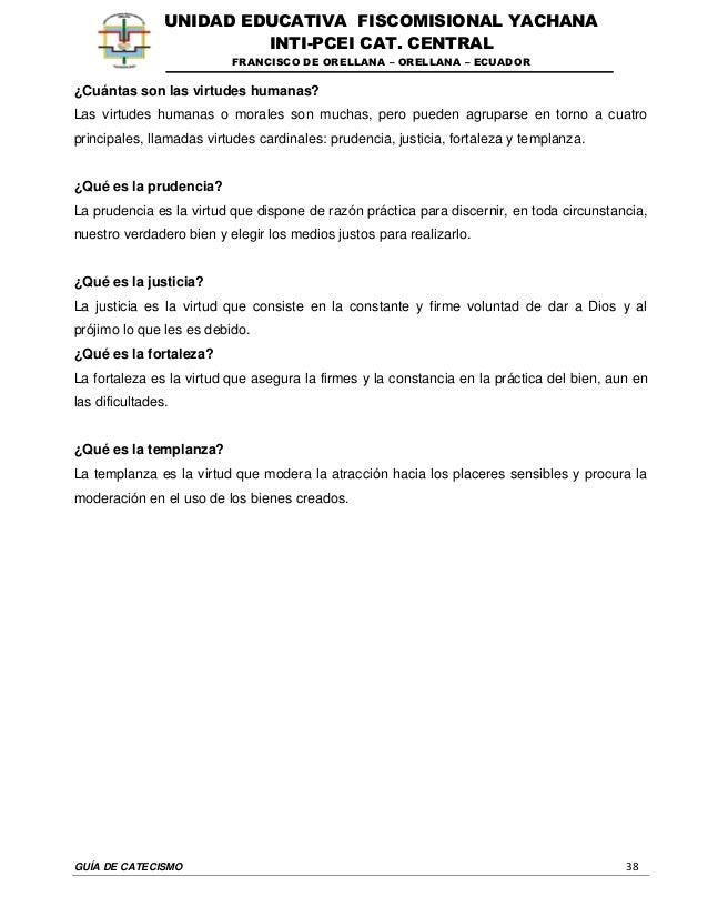 GUÍA DE CATECISMO 38 UNIDAD EDUCATIVA FISCOMISIONAL YACHANA INTI-PCEI CAT. CENTRAL FRANCISCO DE ORELLANA – ORELLANA – ECUA...