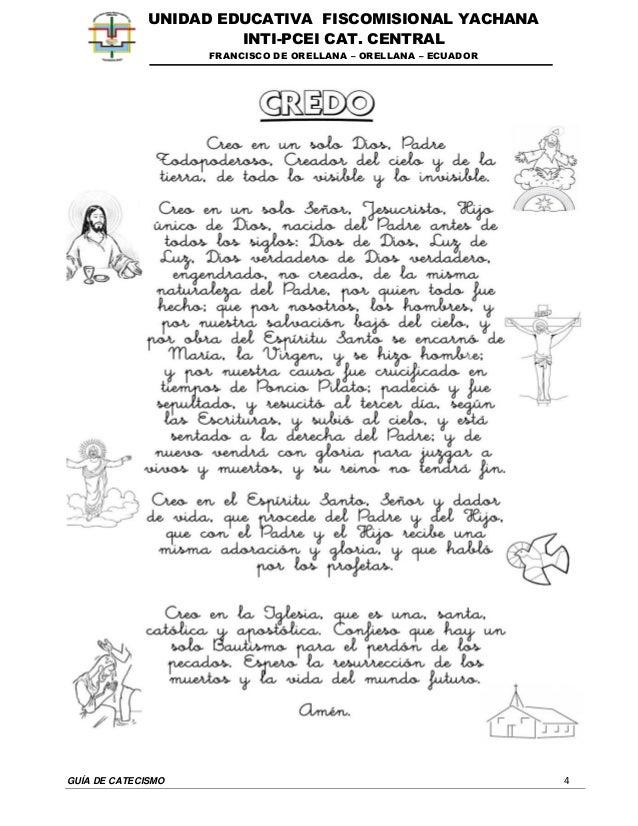 GUÍA DE CATECISMO 4 UNIDAD EDUCATIVA FISCOMISIONAL YACHANA INTI-PCEI CAT. CENTRAL FRANCISCO DE ORELLANA – ORELLANA – ECUAD...