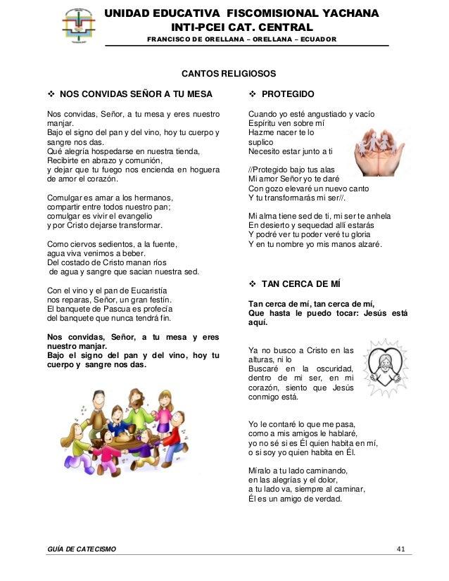 GUÍA DE CATECISMO 41 UNIDAD EDUCATIVA FISCOMISIONAL YACHANA INTI-PCEI CAT. CENTRAL FRANCISCO DE ORELLANA – ORELLANA – ECUA...