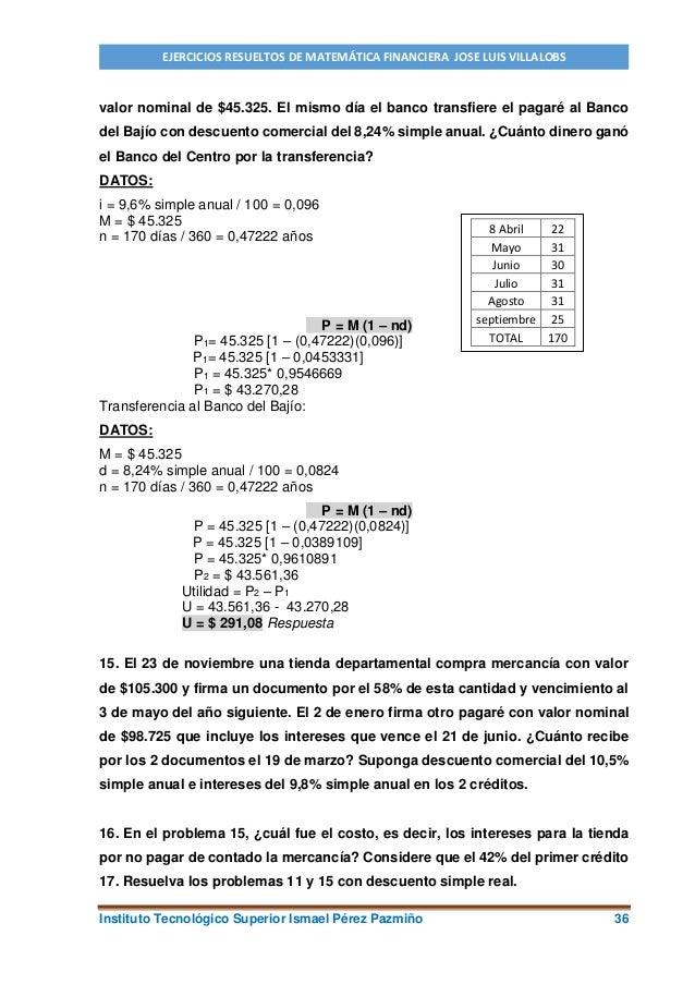 Ejercicios resueltos de matemática financiera Villalobos