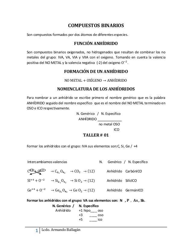 1 Lcdo. Armando Ballagán COMPUESTOS BINARIOS Son compuestos formados por dos átomos de diferentes especies. FUNCIÓN ANHÍDR...