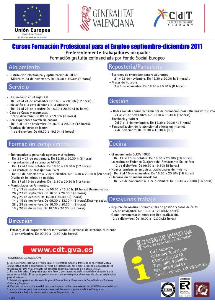 Cursos Formación Profesional para el Empleo septiembre-diciembre 2011                                            Preferent...