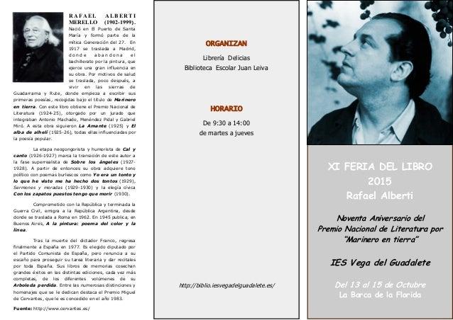 """XI FERIA DEL LIBRO 2015 Rafael Alberti Noventa Aniversario del Premio Nacional de Literatura por """"Marinero en tierra"""" IES ..."""