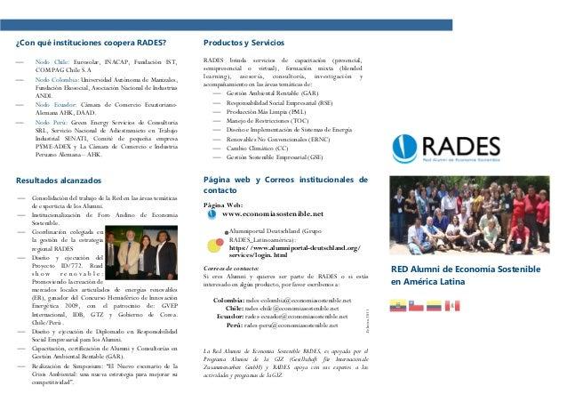 ¿Con qué instituciones coopera RADES?                            Productos y Servicios    Nodo Chile: Eurosolar, INACAP, ...