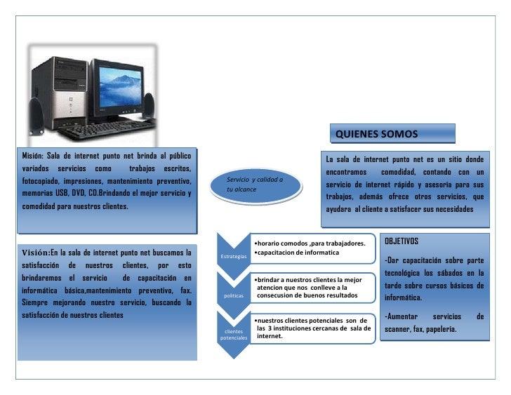 QUIENES SOMOSMisión: Sala de internet punto net brinda al público                                         La sala de inter...
