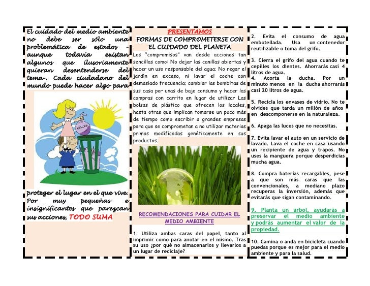 Folleto sobre el medio ambiente folleto ramona gonzales for Affordable furniture gonzales la