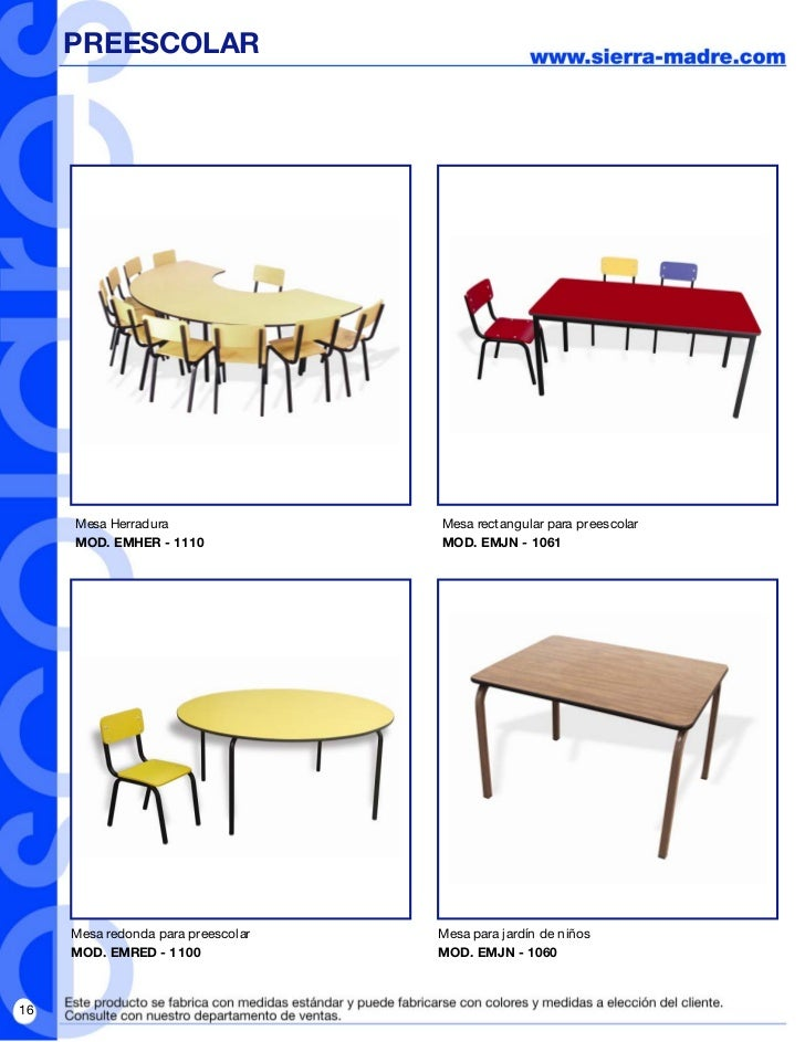 Folleto revista escolar pdf for Mesas para preescolar