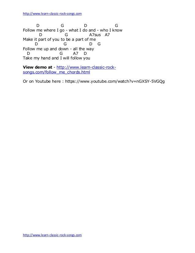 Follow Me Chords Sheet By John Denver
