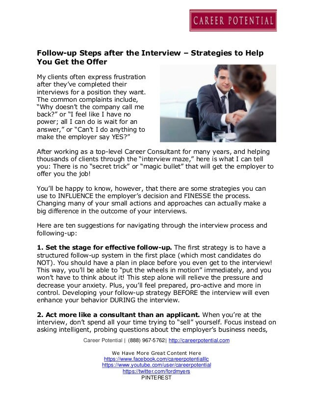 follow up steps after the interview strategies to help you get the offer career potential 888 967 5762 httpcareerpotential - How Long After An Interview Should You Hear Back Or Follow Up With A Call