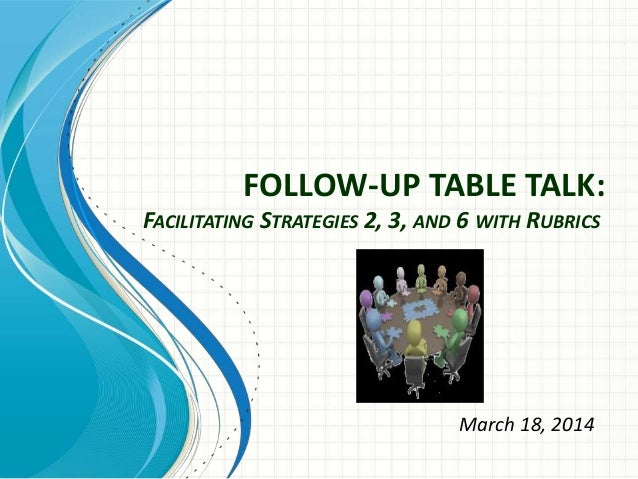 FOLLOW-UP TABLE TALK: FACILITATING STRATEGIES 2, 3, AND 6 WITH RUBRICS March 18, 2014