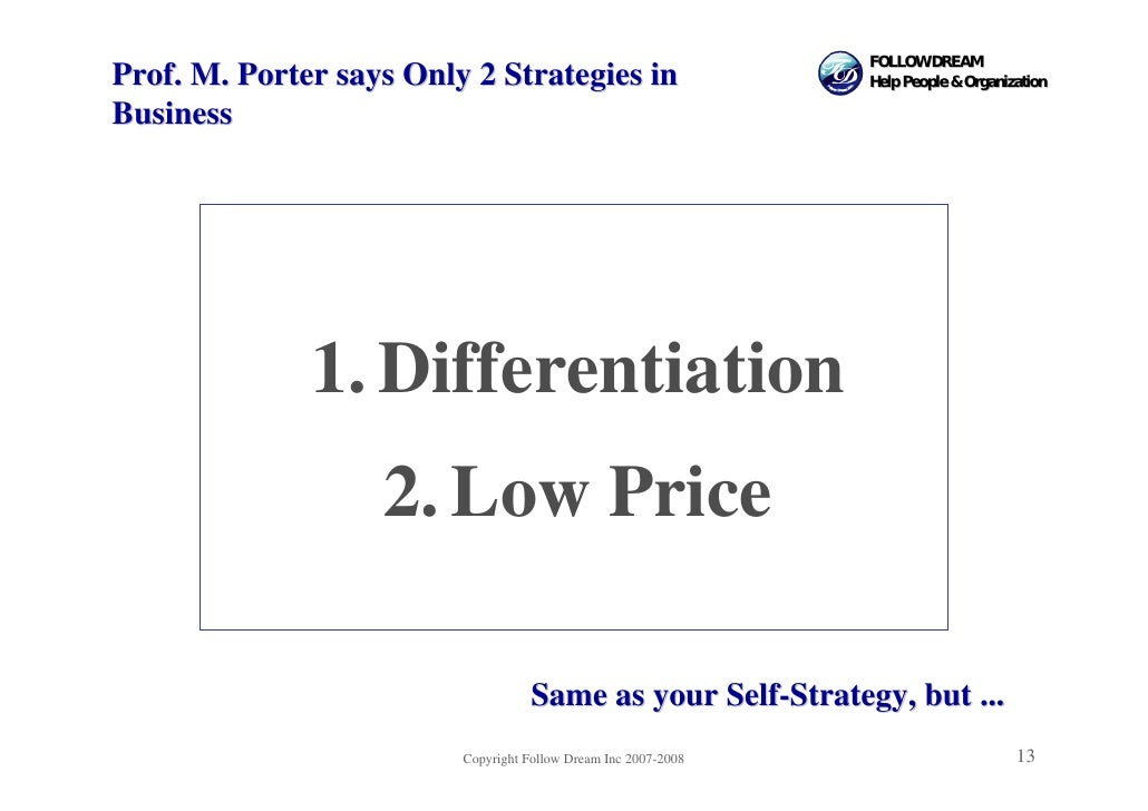 FOLLOW DREAM Prof. M. Porter says Only 2 Strategies in                       Help People & Organization  Business         ...