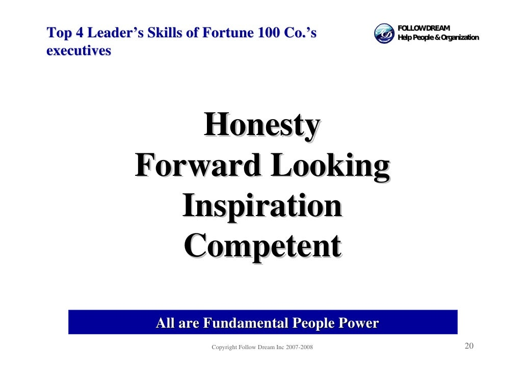 FOLLOW DREAM Top 4 Leader's Skills of Fortune 100 Co.'s                      Help People & Organization  executives       ...