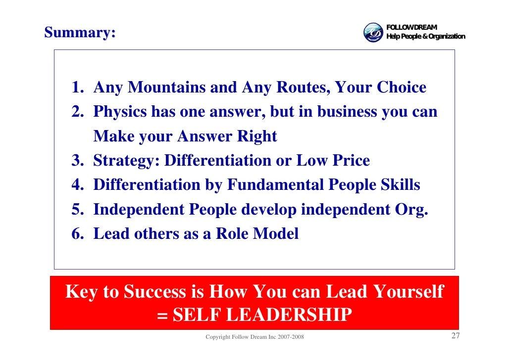 FOLLOW DREAM Summary:                                                   Help People & Organization       1. Any Mountains ...