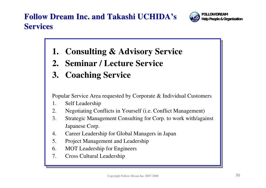 FOLLOW DREAM Follow Dream Inc. and Takashi UCHIDA's                              Help People & Organization  Services     ...