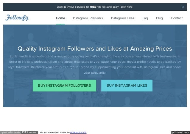 X  Want to try our services for FREE? Its fast and easy - click here!  Home  Instagram Followers  Instagram Likes  Faq  Bl...
