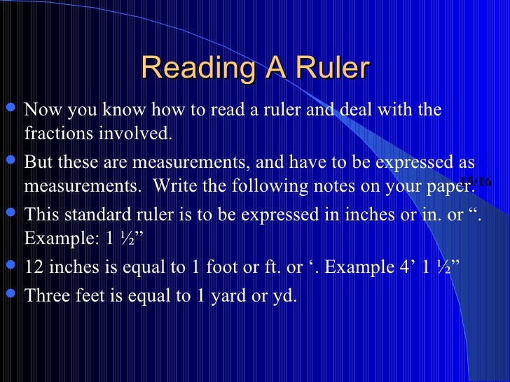 Measurement Lesson Reading A Ruler