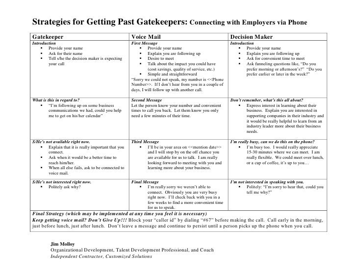 Strategies for Getting Past Gatekeepers: Connecting with Employers via Phone Gatekeeper                                   ...