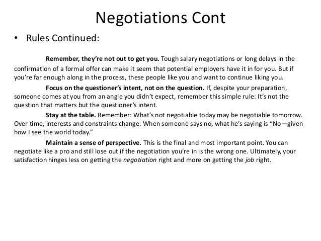 Follow Up Negotiations