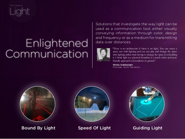 sponsored bypresents the Future Of Light Light The Future of Guiding LightSpeed Of LightBound By Light Solutions that inve...
