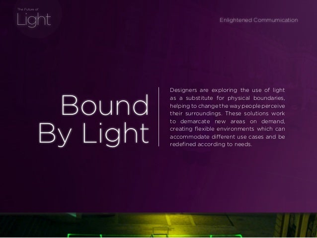 sponsored bypresents the Future Of Light Light The Future of Designers are exploring the use of light as a substitute for ...
