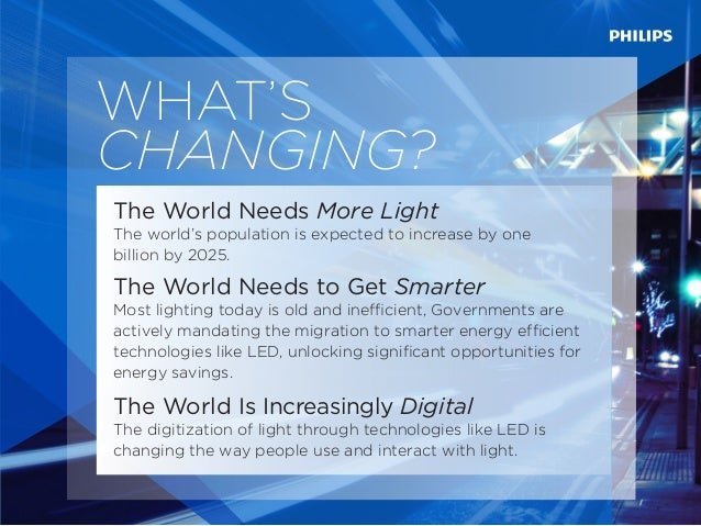 WHAT'S CHANGING? The World Needs More Light The world's population is expected to increase by one billion by 2025. The Wor...