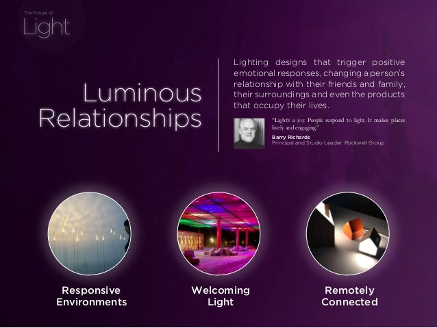 sponsored bypresents the Future Of Light Luminous Relationships Lighting designs that trigger positive emotional responses...