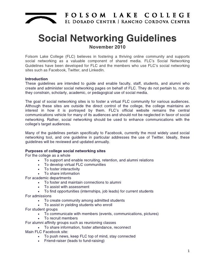 Social Networking Guidelines                                    November 2010Folsom Lake College (FLC) believes in fosteri...