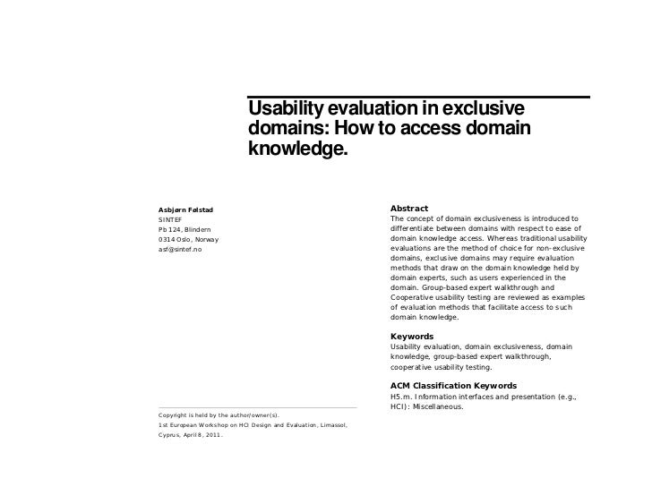 Usability evaluation in exclusive                              domains: How to access domain                              ...