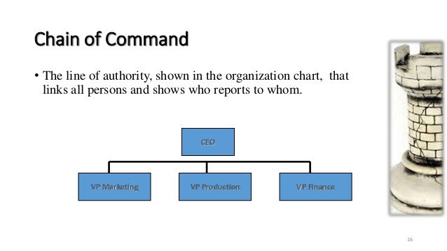 the chain of command concept • chain of command and unity of command: chain of command refers to the orderly line of authority within the ranks of the incident management organization unit 3: ics features and principles • the.