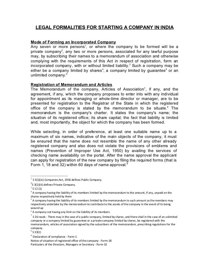 LEGAL FORMALITIES FOR STARTING A COMPANY IN INDIAMode of Forming an Incorporated CompanyAny seven or more persons1, or whe...