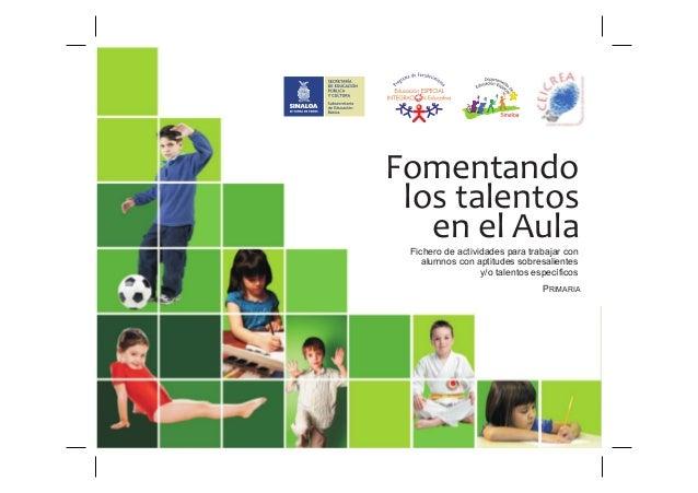 Fomentando los talentos   en el Aula Fichero de actividades para trabajar con    alumnos con aptitudes sobresalientes     ...