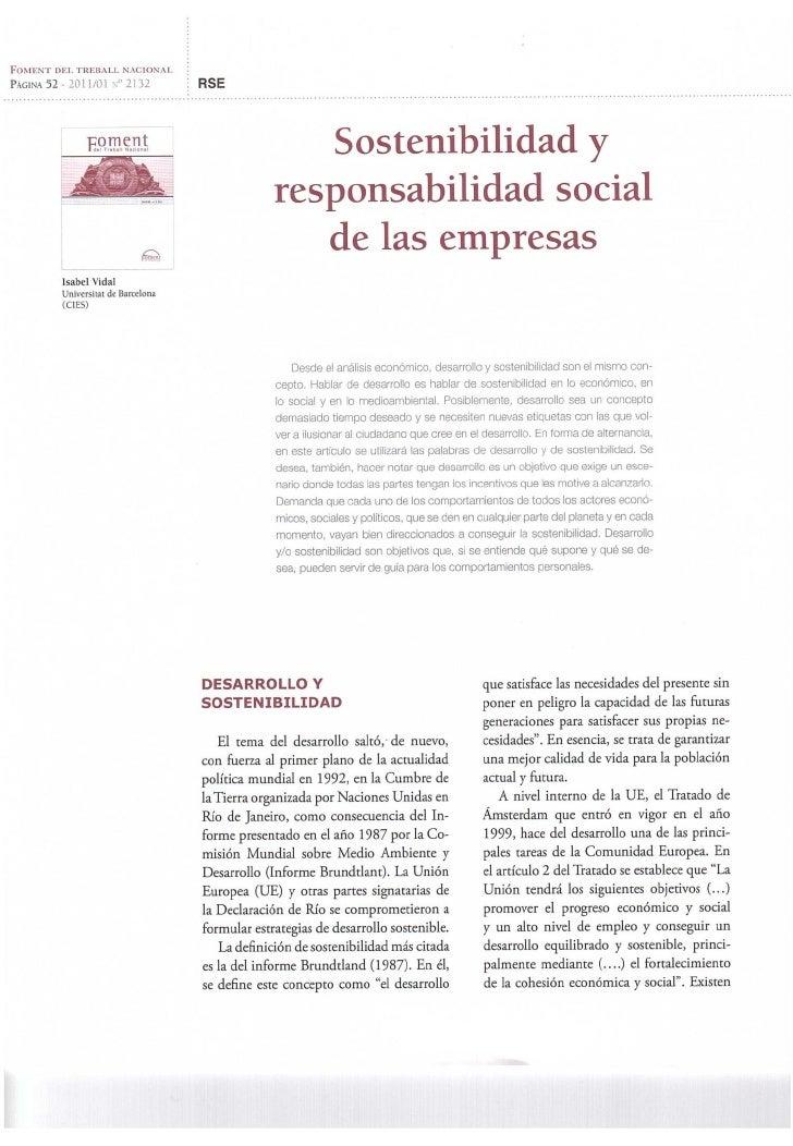 Vidal, Isabel. (2011) Sostenibilidad y responsabilidad social de las empresas