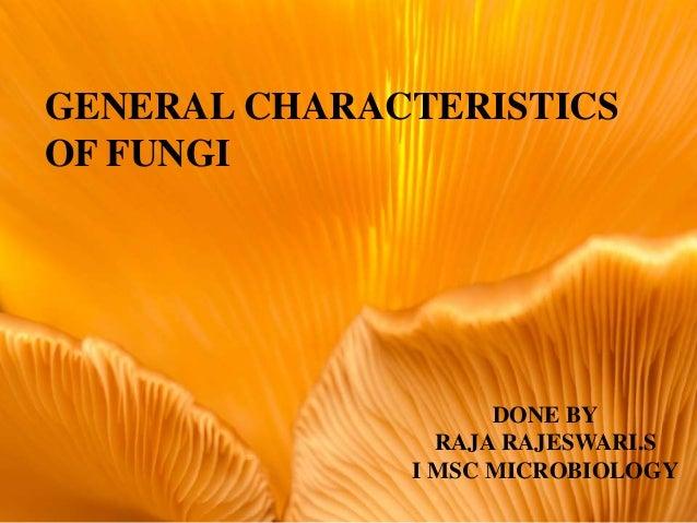 GENERAL CHARACTERISTICS OF FUNGI DONE BY RAJA RAJESWARI.S I MSC MICROBIOLOGY