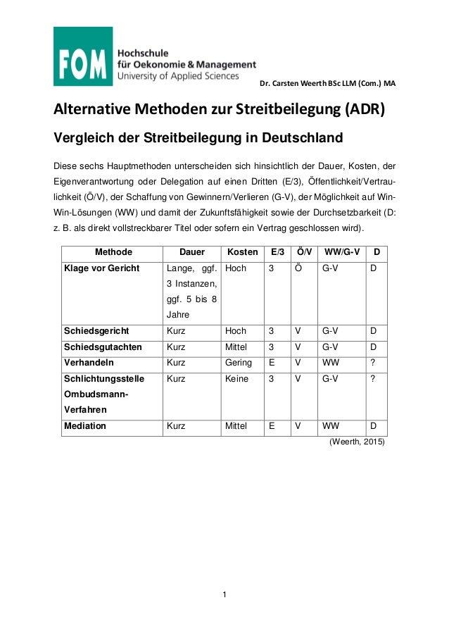 Dr. Carsten Weerth BSc LLM (Com.) MA 1 Alternative Methoden zur Streitbeilegung (ADR) Vergleich der Streitbeilegung in Deu...