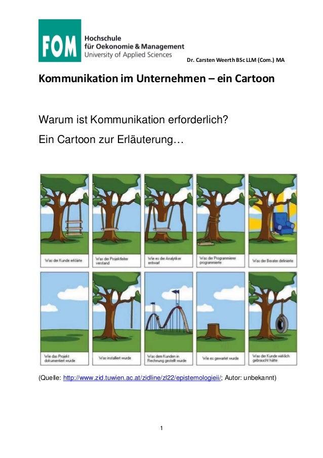 Dr. Carsten Weerth BSc LLM (Com.) MA 1 Kommunikation im Unternehmen – ein Cartoon Warum ist Kommunikation erforderlich? Ei...