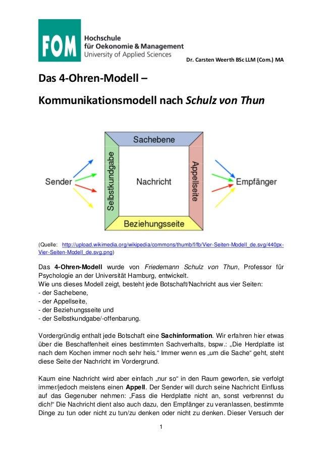 Dr. Carsten Weerth BSc LLM (Com.) MA 1 Das 4-Ohren-Modell – Kommunikationsmodell nach Schulz von Thun (Quelle: http://uplo...