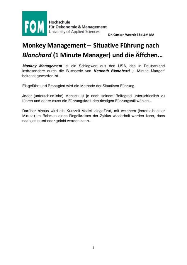Dr. Carsten Weerth BSc LLM MA 1 Monkey Management – Situative Führung nach Blanchard (1 Minute Manager) und die Äffchen… M...