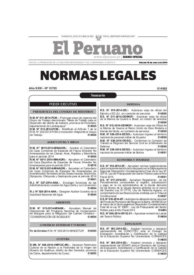 AÑO DE LA PROMOCIÓN DE LA INDUSTRIA RESPONSABLE Y DEL COMPROMISO CLIMÁTICO  Sábado 18 de enero de 2014  Año XXXI - Nº 1272...