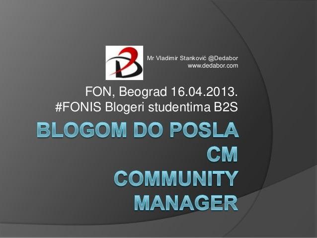 Mr Vladimir Stanković @Dedabor                             www.dedabor.com    FON, Beograd 16.04.2013.#FONIS Blogeri stude...