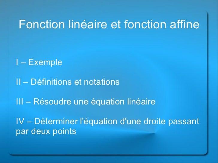 Fonction affine et linéaire