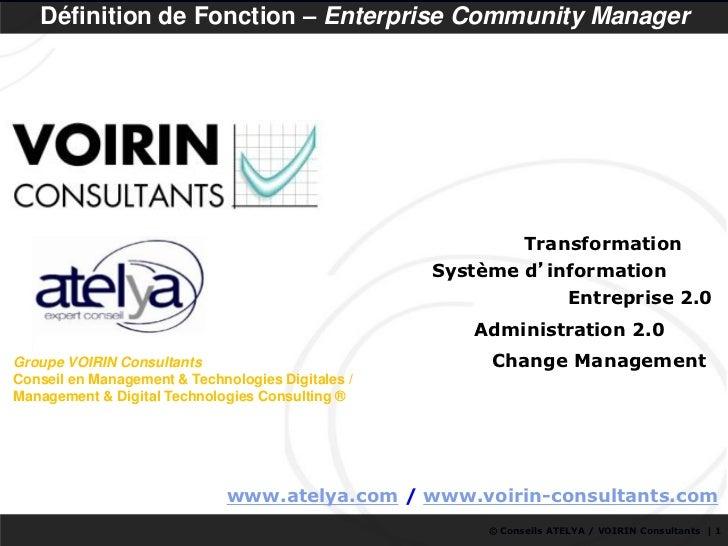 Définition de Fonction – Enterprise Community Manager                                                              Transfo...