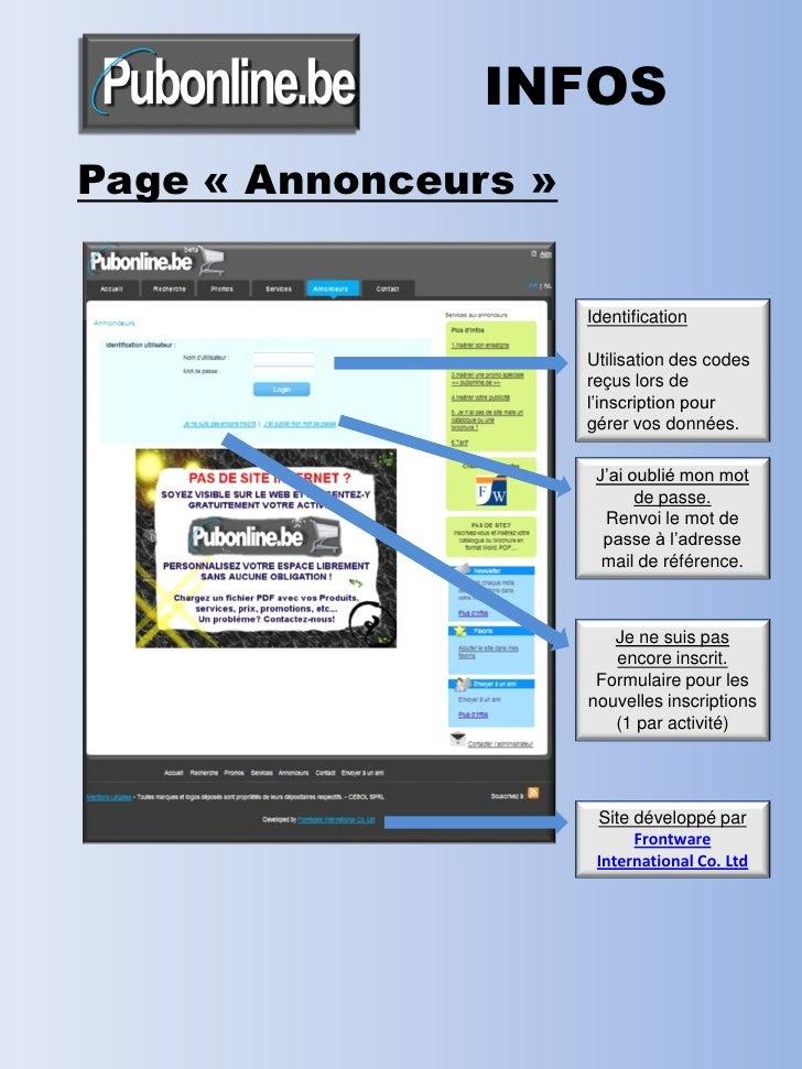 INFOS Page « Annonceurs »                         Identification                        Utilisation des codes             ...