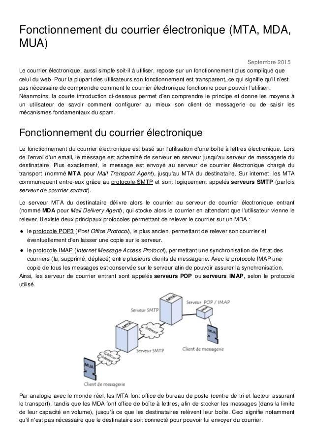 Septembre 2015 Fonctionnement du courrier électronique (MTA, MDA, MUA) Le courrier électronique, aussi simple soit-il à ut...